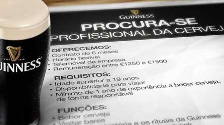 Recrutamento de Profissional de Cerveja - Guinness Portugal