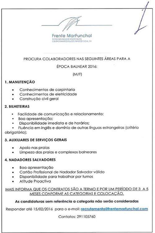 Anúncio de Emprego Frente MarFunchal