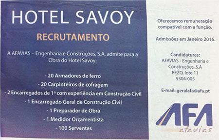 Anúncio da Oferta de Emprego para Trabalhar nas Obras do Hotel Savoy, publicado no Diário de Notícias