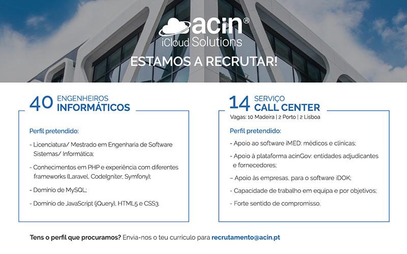 Recrutamento ACIN Engenheiro Informático e Call Center
