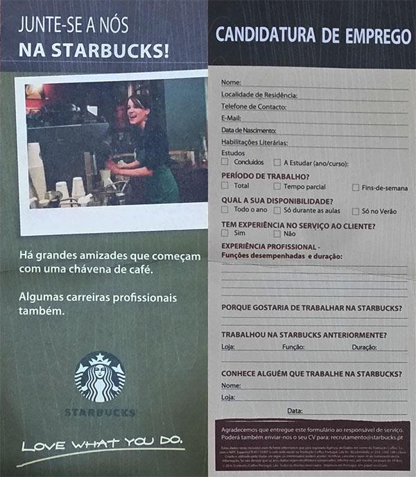 Formulário de candidatura loja Starbucks