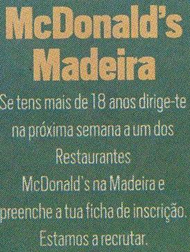 Ofertas de emprego McDonalds Madeira