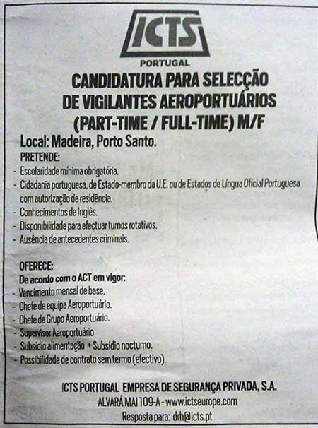 Oferta de Emprego Vigilantes Aeroportuários para Madeira e Porto Santo