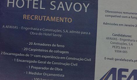 Recrutamento Obras Hotel Savoy